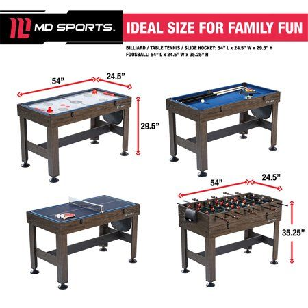 Md Sports 54 4 In 1 Combo Game Table Accessories Included Brown Walmart Com Multi Game Table Table Games Game Room Tables