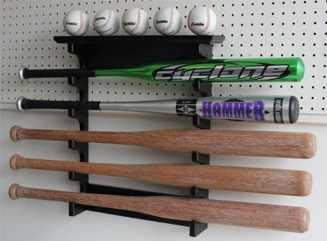 5 Baseball Bat Display Rack Wall Mount Shelf Solid Wood Black Finish B17 Bla Sports Outdoors
