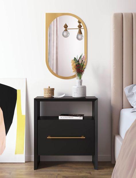 Black Nightstand, Floating Nightstand, Nightstand Ideas, Black Bedside Tables, Bedside Table Decor, Shelf Nightstand, Side Tables Bedroom, Bedside Storage, Bedside Drawers