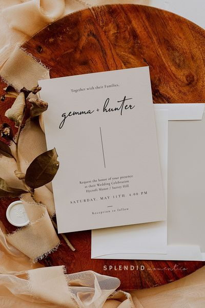 Modern Off White Taupe Wedding Invitation Template Editable Modernist Line Elegant Cursive Wedding Invitation Template In Stone Gemma Wedding Invitations Wedding Invitation Card Template Wedding Invitation Templates