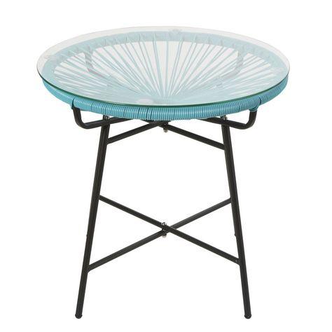 Table basse de jardin en résine bleue et verre   Table basse ...