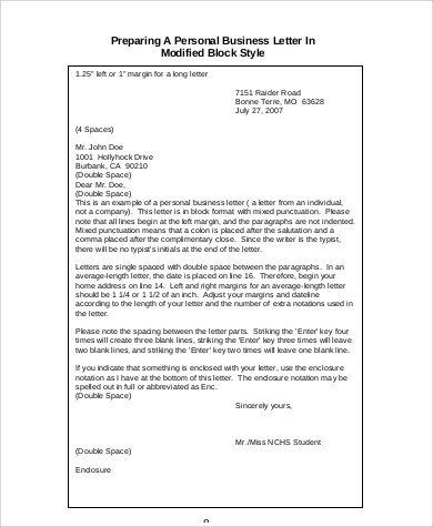 Modified Block Letter Format Inspirational Free 5 Personal Business Letter Samples In Ms Word Letter Template Word Letter Templates Business Letter Sample
