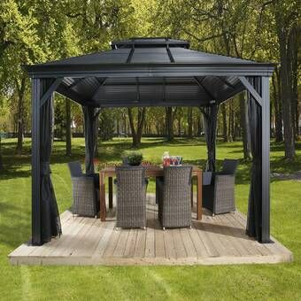 12 Ft W X 10 Ft D Aluminum Wall Mounted Patio Gazebo In 2020 Patio Gazebo Gazebo Patio
