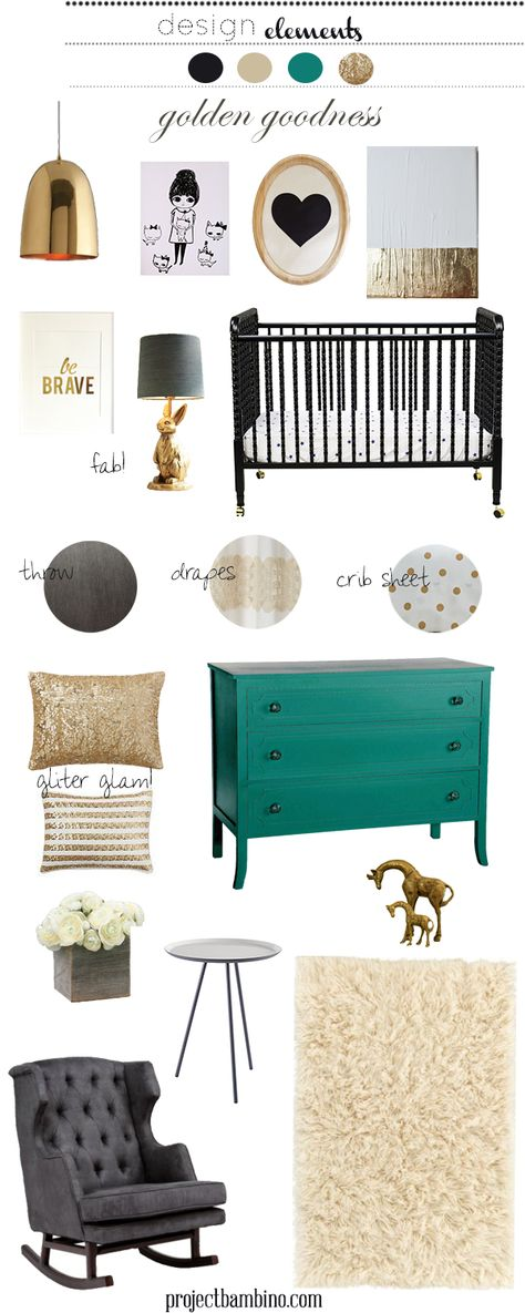 black turquoise and gold #girl #nursery