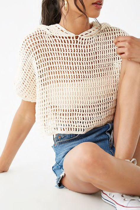 Hooded Open-Knit Crop Top