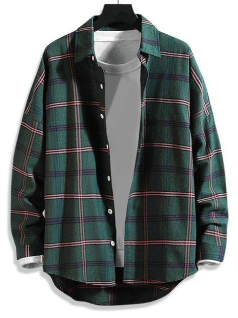 High Low Plaid Print Curved Hem Button Long Shirt #Shirt
