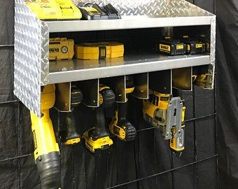 Cnc Made Cordless Drill Organizer Wall Mounted Cordless Tool Holder Power Tool Storage Tool Storage Gift Garage Tool Storage In 2020 Cordless Drill Drill Holder Tool Storage Diy