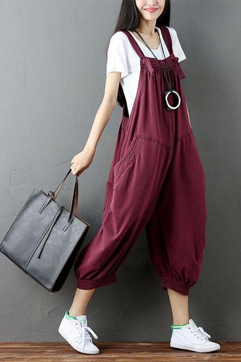 Women Vintage Casual Button Pure Color Loose Jumpsuit – superladystar