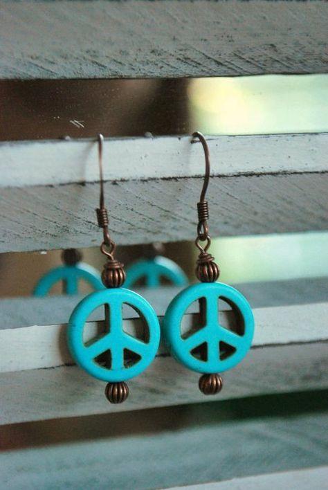 Beautiful handmade dangle earrings howlite turquoise peace sign purple
