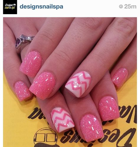 Pink, glittery AND chevron nails