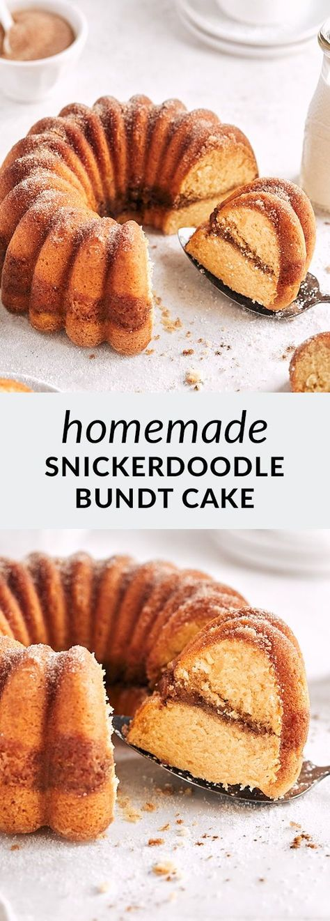 Snickerdoodle bundt cake is perfectly golden and cinnamon-spiced! Layered with a delicious cinnamon-sugar ribbon, this easy bundt tastes like snickerdoodle cookies.