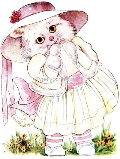 Public Domain Vintage Childrens Book Illustration Animal Children Kitten Girl Free Vintage Illustrations Children S Book Illustration Animal Illustration Book Illustration