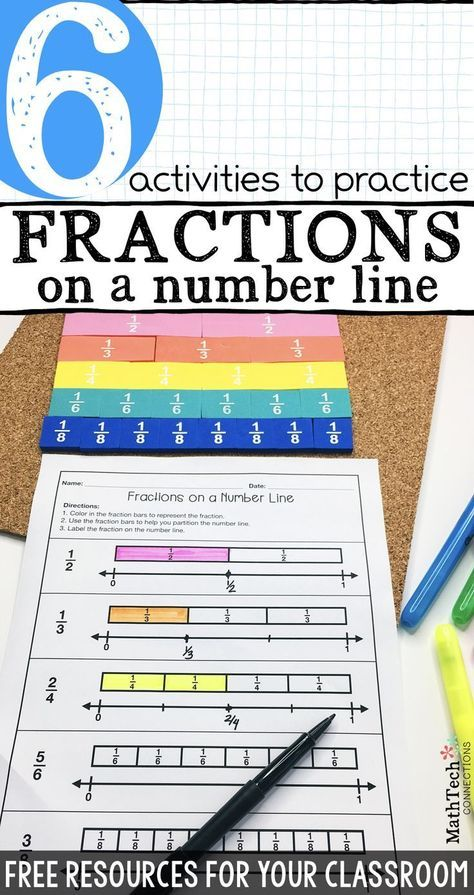 6 activities to practice fractions on a number line - download free