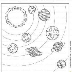 ورقة تلوين المجموعة الشمسية موضوع الفضاء للاطفال تعليم مبكر شمسات Kids