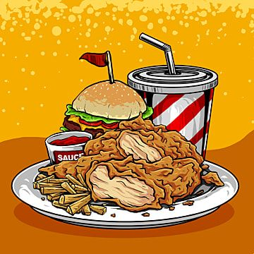Vector Of Delicious Junk Food Poster Fried Chicken Potatoes And Coke Illustration Fried Chicken Eatery Drink Png Transparent Clipart Image And Psd File For F Chicken Potatoes Fried Chicken Food Poster