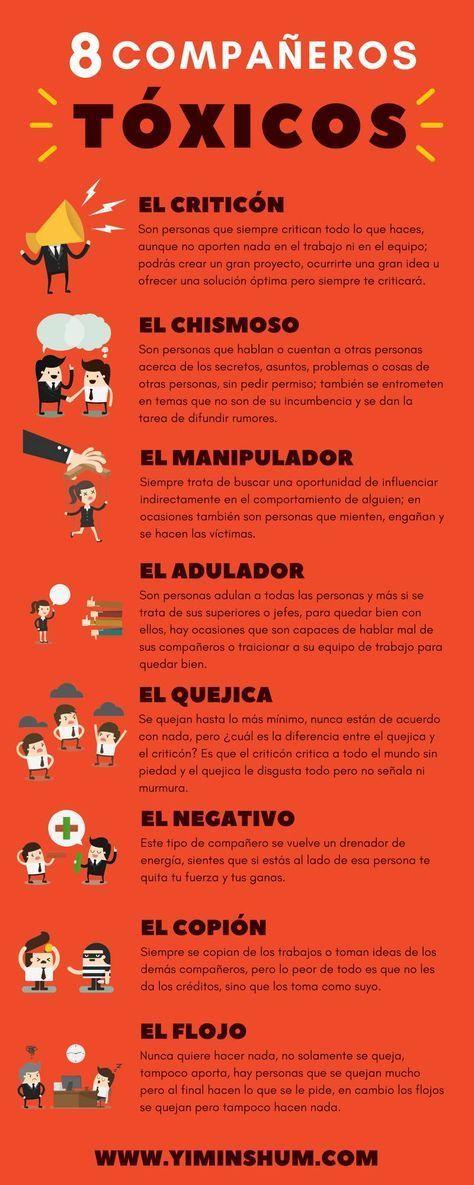 Una Interesante Infografía Que Nos Desvela Los Perfiles De 8 Compañeros De Trabajo Que Nadie Desea Reconoces A Alguno De Ellos Psychology Emotions Coaching