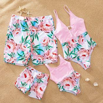 Yaffi Family Matching Swimwear 2019 Newest One Piece V Neck Bathing Suit Mommy and Me Matching Monokini Beachwear