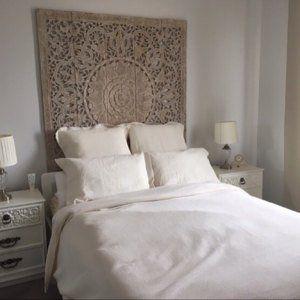 Large White Queen Size Bed Bohemian Reclaimed Headboard Mandala Sculpture Flower Wooden Hand Craved Carving Teak Wood Art Panels Wall Decor Headboards For Beds Thai Decor Bohemian Headboard