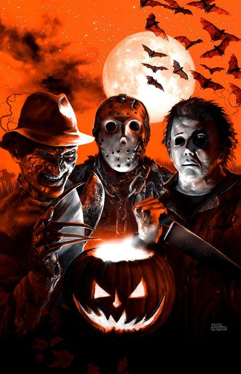 3 SIZES Halloween Scream Team poster canvas metallic art print | Etsy