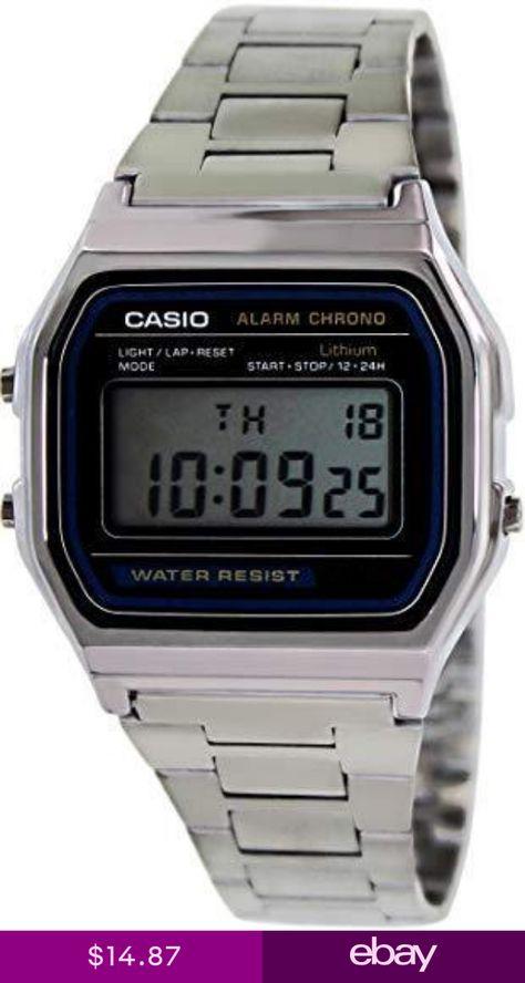 ae2ed67a2c36 Casio Mens Quartz Digital Chorno Silver-Tone Bracelet Watch A158W-1 ...