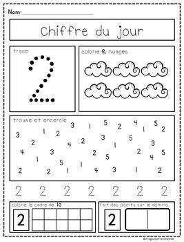 Chiffre Du Jour French Number Of The Day Pack By Frog Jump French Teachers Pay T Math Kindergarden Kids Learning Activities Preschool Homeschool Preschool