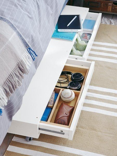If your bed doesn't have quite enough clearance for baskets, try this idea from Wohnidee for converting an IKEA Ekby Alex shelf into rolling underbed storage