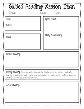 Guided Reading Planning Sheets Freebie  School Reading