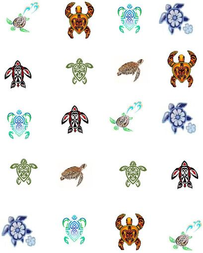 Colored Tribal Turtles Waterslide Water Transfer Nail Decals Nail Art Tribal Turtle Tattoos Turtle Tattoo Designs Tribal Turtle