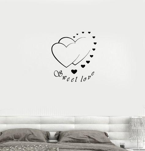 Wall Decal Sweet Love Romance Hearts Bedroom Decor Vinyl Sticker (ed812)