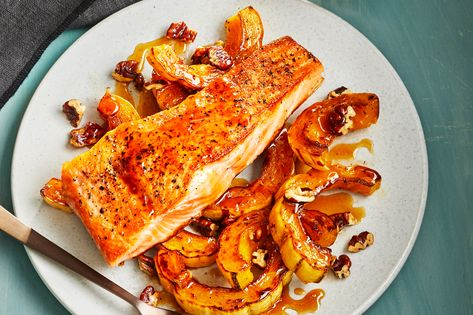 Brown Sugar–Glazed Salmon with Buttery Roasted Squash