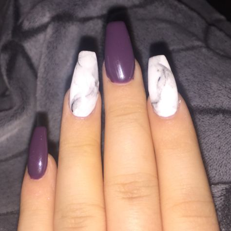Acrylic Gel Nails These Are Beautiful Dark Purple And Marble Smoky Effect Violet Nails Purple Acrylic Nails Dark Purple Nails