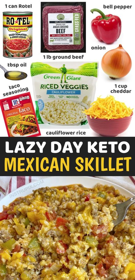 Looking for easy, healthy and low carb dinner recipes? Try this simple weeknight meal made with just a handful of ingredients in ONE PAN including ground beef, cauliflower rice, cheese, Rotel, taco seasoning, onion and bell pepper. It's incredibly delicious yet healthy and totally guilt free! Thanks to frozen cauliflower rice and ground beef, this recipe is a breeze to throw together on busy weeknights. Just as good leftover so great for meal planning! Easy dinners for the entire week.