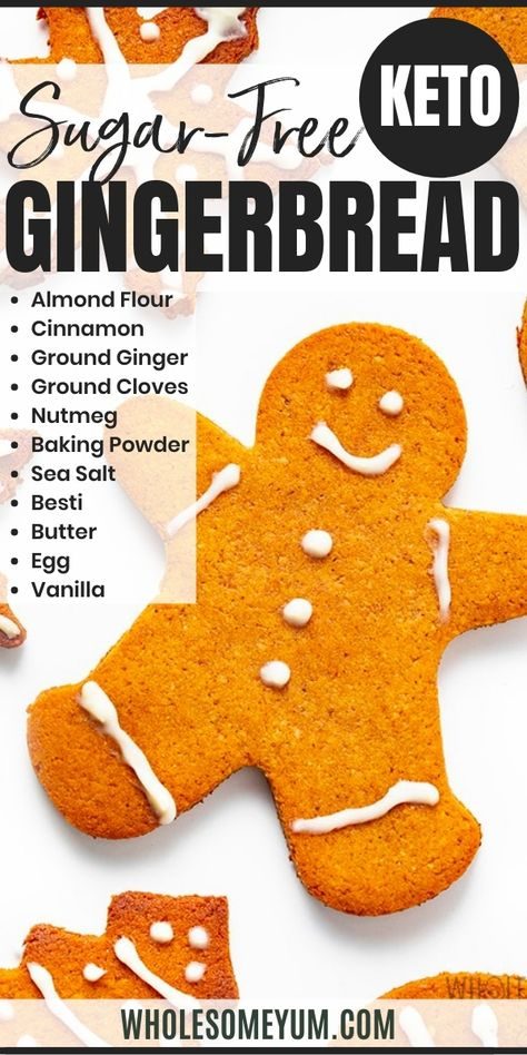 The best keto gingerbread cookies recipe to make your holidays merry and bright. These low carb sugar-free gingerbread cookies have just 1.4 net carbs each! #WholesomeYum Sugar Free Cookies, Sugar Free Desserts, Sugar Free Recipes, Keto Cookies, Low Carb Sweets, Healthy Sweets, Low Carb Desserts, Diabetic Desserts, Diabetic Recipes