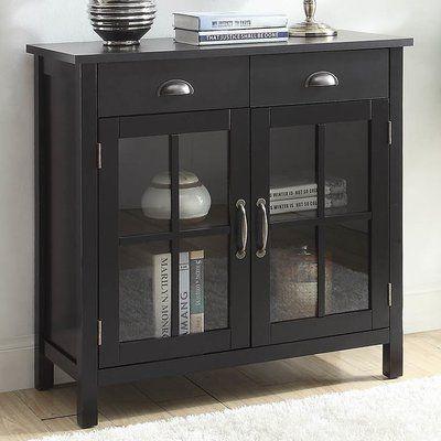 Birch Lane Heritage Dillsboro Wood 2 Door Accent Cabinet Color Black Accent Cabinet Accent Doors Stylish Cabinet