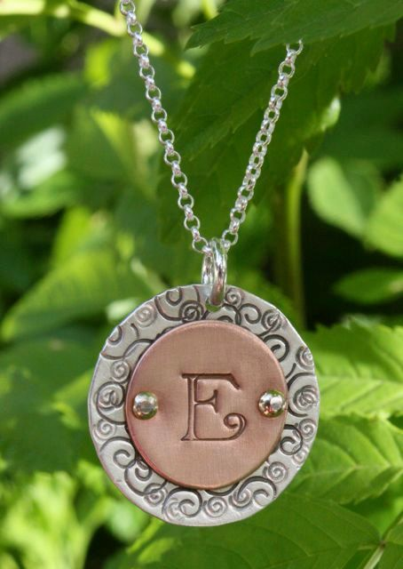 Sterling Silver & Copper Monogram Necklace - Unique Personalized Gift for Sister, Mother, Teacher Gift, Mothers Day, Bridesmaid Gifts via Etsy