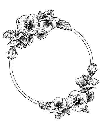 Illustration of Frame with hand drawn pansy flowers, vector illustration. Vintage style. vector art, clipart and stock vectors. Image 61107720.