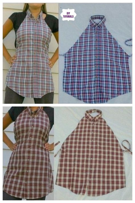 Creative Ideas to Repurpose Old Shirts into New Fashion - How to Turn Men's Dress Shirt to Apron Source by benjymom fashion ideas Cut Up Shirts, Tie Dye Shirts, Old Shirts, Sewing Aprons, Sewing Clothes, Diy Clothes, Clothes Refashion, Shirt Refashion, Men's Shirt Apron