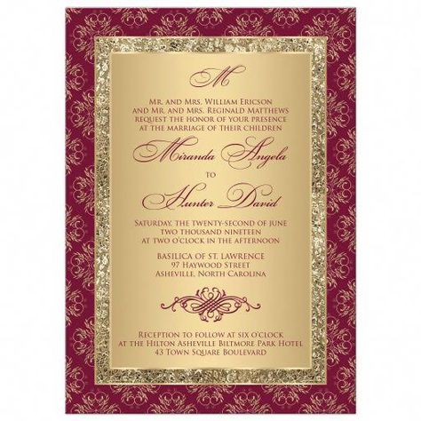 This elegant burgundy and gold wedding invitation with monogram has an outer border in an delicate scrolled medallion pattern. There is a thinner gold patterned effects border with a gold background for the wedding wording. The formal wording is... #weddingthemes