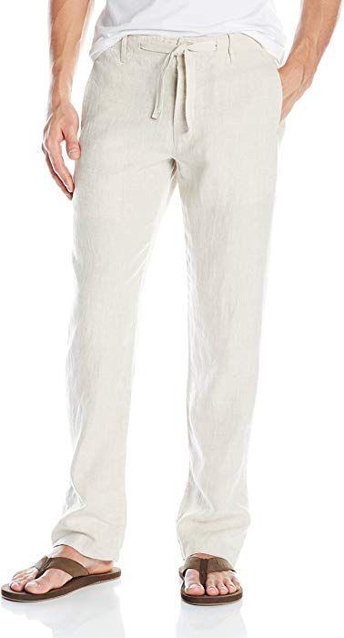 Perry Ellis Men's Drawstring Linen Pant, Natural Linen, 38 at Amazon Men's Clothing store