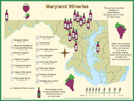 Map Of Maryland Wineries Bing Images USAMaryland Pinterest - Maryland usa map
