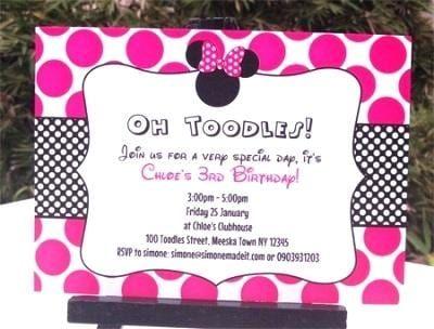 Minnie Mouse 3rd Birthday Invitations Wording Fiesta Minnie Cumpleanos Minnie Invitaciones