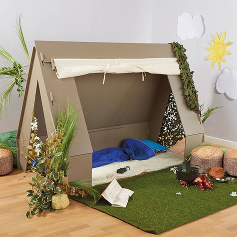 80 Cute Classroom Theme Ideas for Teachers Cardboard Houses For Kids, Cardboard Crafts Kids, Cardboard Playhouse, Cardboard Box Ideas For Kids, Infant Activities, Activities For Kids, Deco Jungle, Pop Up Tent, Camping Theme