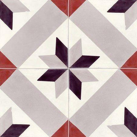Carreau De Ciment Sol Et Mur Gris Noir Rouge Etoile L 20 X L 20 Cm