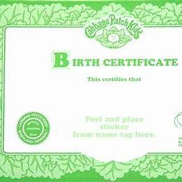 Cabbage Patch Birth Certificate Template Birth Certificate Template Cabbage Patch Kids Patches