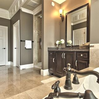 Master Bathroom-Add tile flooring, frame the mirror, stain the ...
