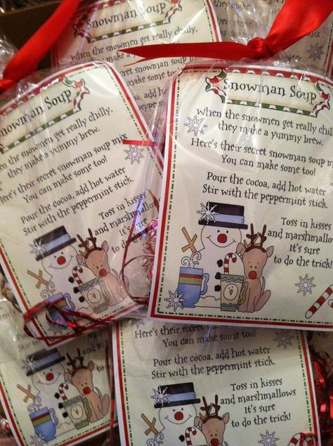 Delight your guests with these adorable Snowman Soup Favors and let them know how sweet they are! You will receive 10 completed favors for giving to your friends and loved ones. The tags have a cute poem with a beige background, trimmed in red and green featuring a snowman and reindeer complete