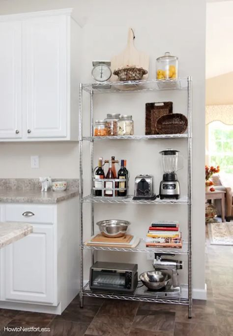 The Renter-Friendly Secret Weapon That Solved My Small Kitchen Storage Woes The Wire Shelving Unit That Solved My Small Kitchen Storage Woes Apartment Kitchen Organization, Small Apartment Kitchen, Rental Kitchen, Small Kitchen Storage, Home Decor Kitchen, Kitchen Small, Small Kitchens, Small Storage, Small Apartment Storage