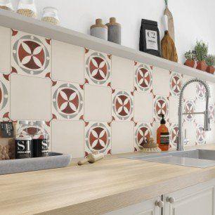Carreau De Ciment Mur Rouge Belle Epoque Leonie L 20 0 X L 20 0 Cm Carreau De Ciment Carrelage Mural Cuisine Decoration Maison