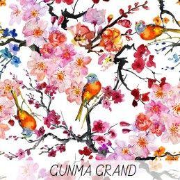 Tissu De Coton Japonais Gunma Grand Jardin Japonais Oiseaux Et