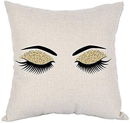 Amazon Com Moslion Eyelashes Pillow Home Decorative Throw Pillow Covers Pair Of Black Eyelas Cotton Linen Cushion Decorative Throw Pillow Covers Square Pillow